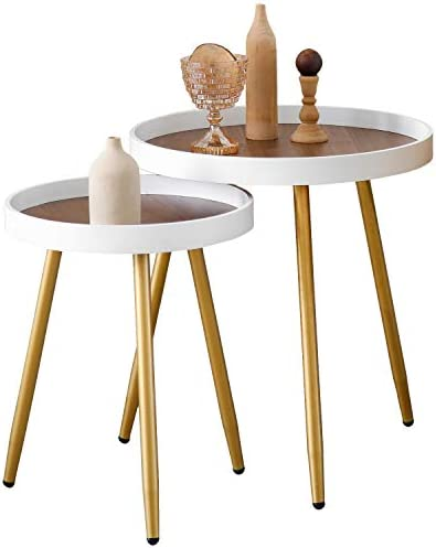 MHKanS Wooden Tray Table Metal Tripod Stand End Table Round Side Table Coffee Table Nightstand Round Side Table