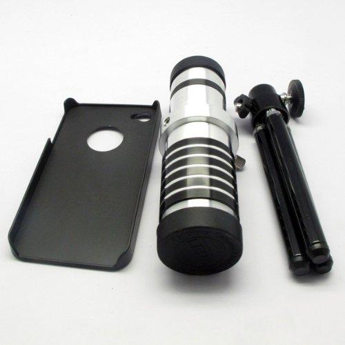 14x Optical Zoom Metal Camera Telescope Lens Kit + Mini Tripod + Black Case for Apple iPhone 4 4G 4S