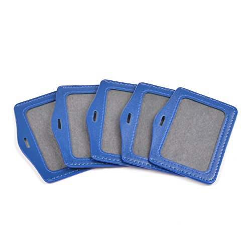 Cosmos ® 5pcs Blue Horizontal Style Faux Leather Business Id Credit Card Badge Holder