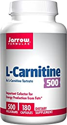 Jarrow Formulas L - Carnitine Tartrate, Assists in Energy Production of Fats, 500mg, 180 Capsules