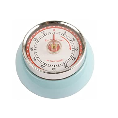 Kikkerland Kitchen Retro Magnetic Timer, Light Blue