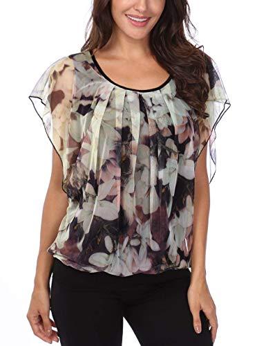 Apricot1 Femme Mode Chauve Plier Blusen Confortable Chic Haut Rond Top Et Manches Impression Casual Elgante Col Souris Tops Modle Courtes Chemise RPqx0q5w