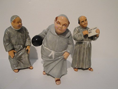 Bowling Monks Ceramic Figurines Set of 3