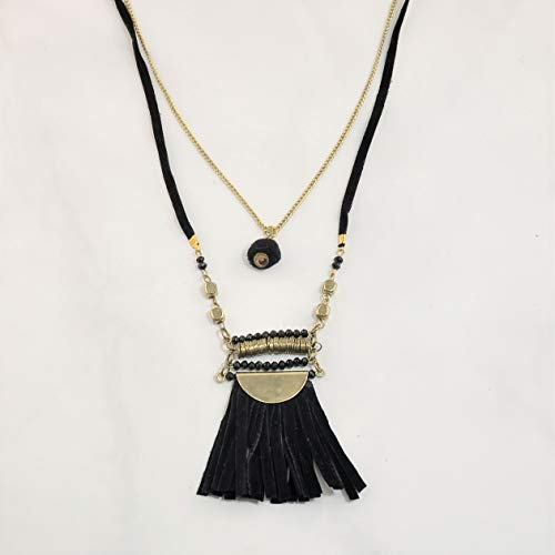 Sivalya Bohemian Goddess Multi Layered Black Suede Fringe Necklace for Women Fashion Jewelry