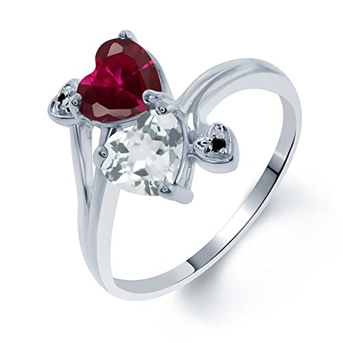 1.95 Ct Heart Shape Red Created Ruby Sky Blue Topaz 925 Sterling Silver Ring (Sterling Shape Heart)