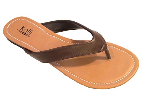 Kali Footwear Women's Cocoa Flat Thong Sandals Brown, 10