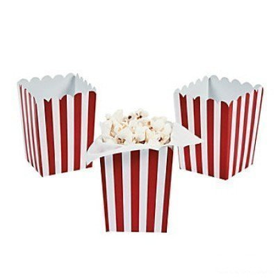 Fun Express Mini Red Striped Popcorn Boxes - 24 ct by Party Supplies