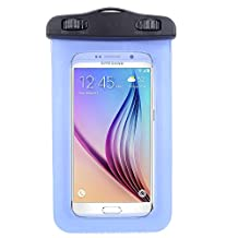 Universal Premium Waterproof Bag / Pouch / Cover / Case for Samsung Galaxy S6/ Active/ J7/ J5/ HTC One M9 / E9 / Lenovo A7000 / Vibe Shot / Nokia Lumia 640 / Sony Xperia E4 / M4 with Responsive Screen Protector Windows and Strap Fit up to 5.5 Inch Ios Windows Google Android Smart Phone + SumacLife Wisdom Courage Wristband (Blue)