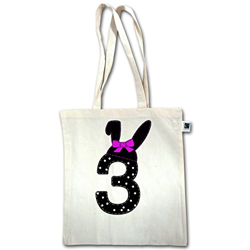 Compleanno Bambino - 3 ° Compleanno Orecchie Da Coniglio Arco - Unisize - Naturale - Xt600 - Manici Lunghi Borsa Juta