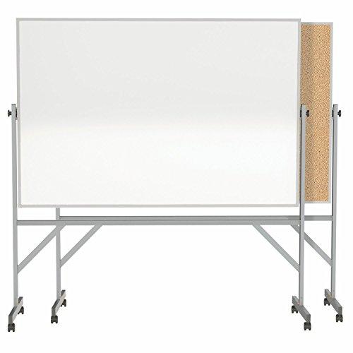 Ghent 4' x 6' Aluminum Frame Mobile Reversible Free Standing Melamine Markerboard / Natural Corkboard