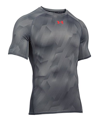 Under Armour Men's HeatGear Armour Printed Short Sleeve Compression Shirt, Graphite (042)/Pomegranate, Medium by Under Armour (Image #3)