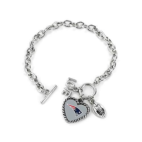 (aminco NFL New England Patriots Charmed Love Football Bracelet)