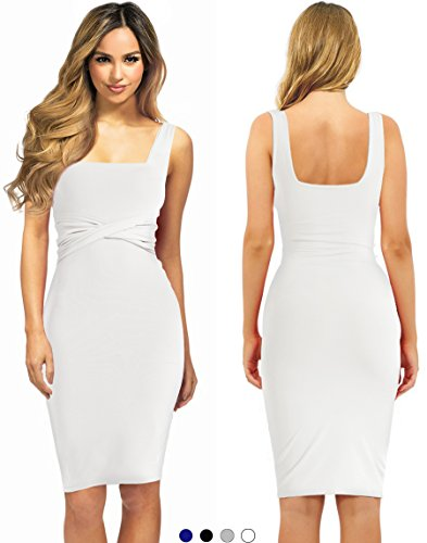 Evening Cocktail Midi Dress For Woman To Sexy Bodycon Business Office Work Casual Elegant Winter (White, Small)