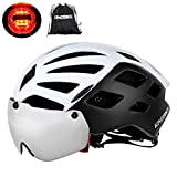 KINGBIKE Bike Helmet Bicycle Helmets Cycling for Adults Men Women Youth Detachable Magnetic Visor Shield Goggles UV4000 Protection LED Rear Light MTB Road Commute Street Specialized (White) Review