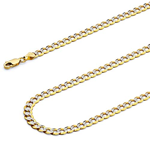 Wellingsale 14k Two Tone Yellow and White Gold SOLID 4.7mm Polished Cuban Concaved Curb White Pave Diamond Cut Chain Necklace with Lobster Claw Clasp - - 180 Curb Chain Pave Necklace