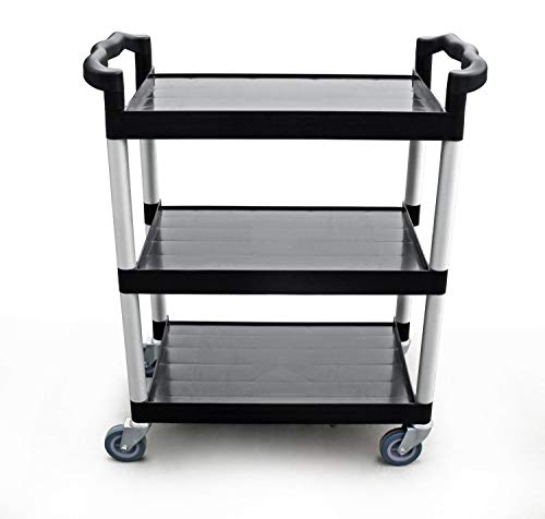 New Star Foodservice 54538 250-Pound Plastic 3-Tier Utility Bus Cart with Locking Casters, 32 by 16 by 38-Inch, Black