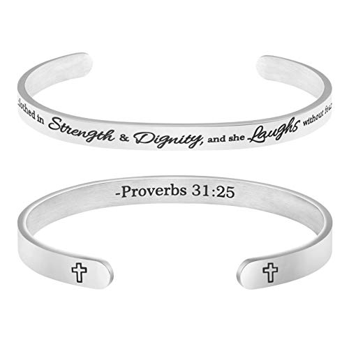 MEMGIFT Christian Bracelets for Girls Religious Gifts for Women Stainless Steel Cuff Bangle She is Clothed in Strength and Dignity,and she Laughs with Out Fears of The Future Proverbs 31:25""
