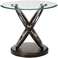 Bowery Hill Round Glass Top End Table in Espresso