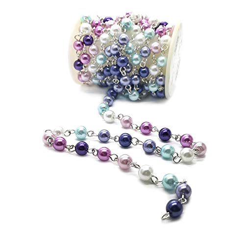 (Handcrafted Glass Pearl Beaded Chains for Jewelry Making by Beading Station - Sold by Foot)