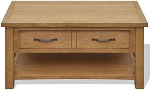 Goed Verkopen Wakects salontafel, bijzettafel, sofatafel, massief eikenhout met 2 laden, afmetingen 88 x 53 x 45 cm (B x D x H)  9c4w4Y6