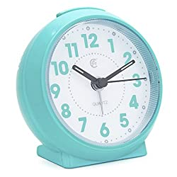 JCC Macaron Color Glossy Small Round Handheld Size Non Ticking Quartz Bedside Desk Clock Travel Alarm Clock with Light Night, Snooze Function - Battery Operated (Shining - Mint Green)