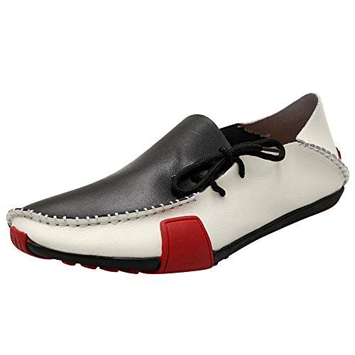 XiaoYouYu Herren Leder Fahren Horsebit Mokassin Schuhe Schwarz Weiß