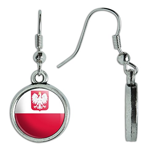 Poland National Costume (Novelty Dangling Drop Charm Earrings Country National Flag O-S - Poland With Coat of Arms National Country Flag)