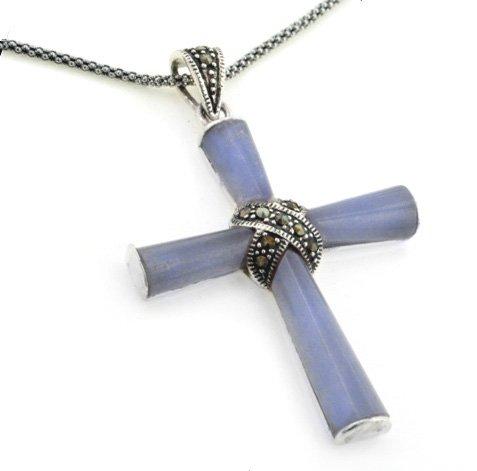 Sterling Silver Marcasite Purple Jade Cross Pendant w/ 20