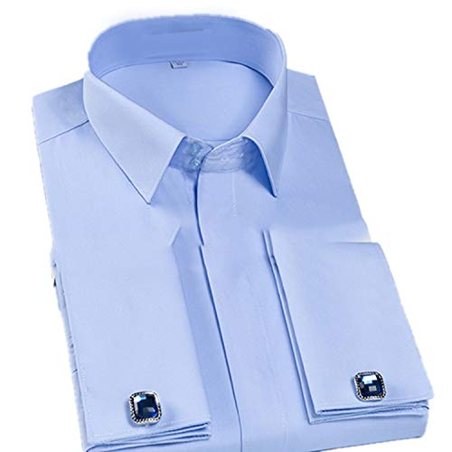 Slim Fit French Cuff Dress Shirt Long Sleeve Covered Placket Tuxedo Shirts(Cufflinks Included) Blue L