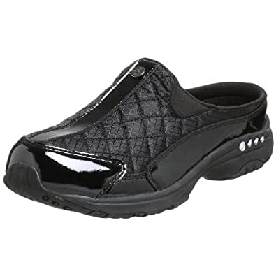Easy Spirit Women's Traveltime Clog,  Black/Silver Patent, 5 M US