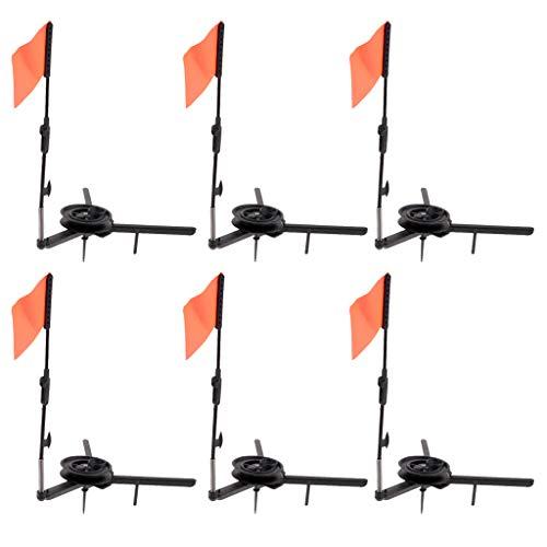 Baosity 6pcs Foldable Ice Fishing Rod with Flag Round Tip-Up Ice Fishing Orange Flag Fishing Equipment