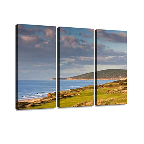 7houarts Links Golf Course in Scotland Canvas Wall Artwork Poster Modern Home Wall Unique Pattern Wall Decoration Stretched and Framed - 3 Piece