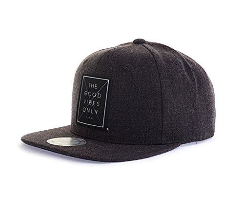 (myglory77mall Goodvibes Comic Funny Flat Cap Snapback Bboy Hats Baseball Caps Hip hop Charcoal)