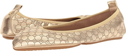 Gold Nappa Footwear - Yosi Samra Women's Vienna Gold Circle Perforated Nappa 11 M US