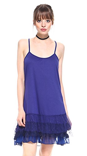 Melody [Shop Lev] Women's Knit Full Slip for Short, Mini Dresses with 3 Combo Ruffle Layers (3X, (Melody Lace)