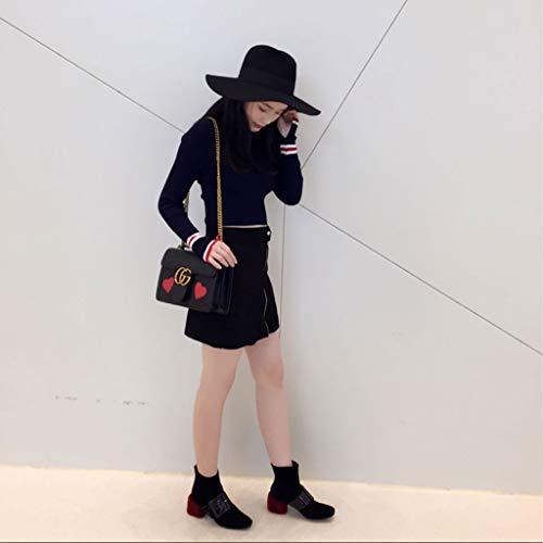 Tacco Tacco al New Velvet Nero Boots e Short Short Short Buckle 2018 Inverno ChixiaO Square Donna Autunno Plus IPqw74xqO