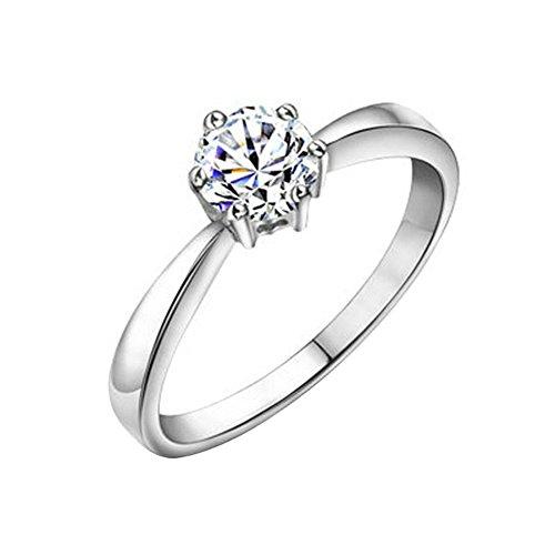 Yoursfs 18k Or blanc plaqué Solitaire en 1.5 CT Diamant de simulation de Bague de charme pour femmes ou filles comme cadeau d'anniversaire ou la fête