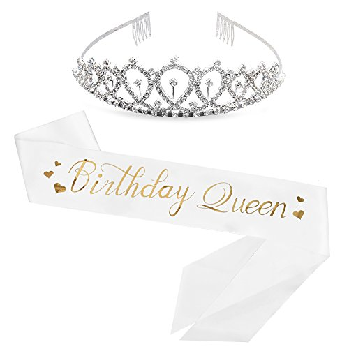 Birthday Queen Sash & Rhinestone Tiara Kit - 21st 30th Birthday Sash for Women Birthday Gifts Fun Party Favors (White/Gold Foil)