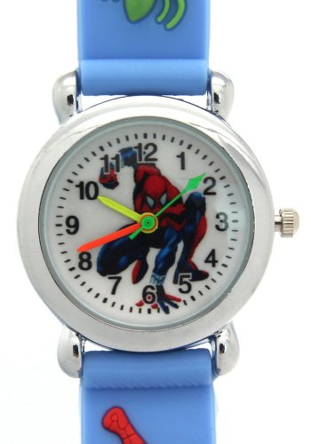 TimerMall Children's Sport Style Light Blue Strap Clear Numbers Hour Markers Cartoon Watches