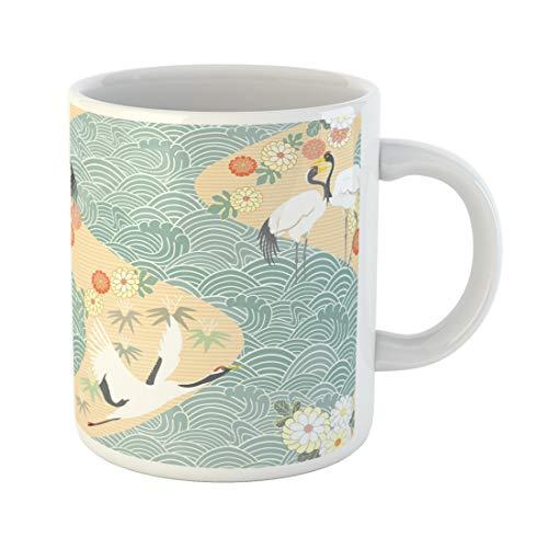 Semtomn Funny Coffee Mug Seamless Pattern with Birds Crane Heron Japanese Ornament Oriental Motifs 11 Oz Ceramic Coffee Mugs Tea Cup Best Gift Or Souvenir