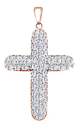 6 Ct Round Cut White CZ Hip Hop Cross Pendant In 14K Gold Over Sterling Silver by Wishrocks