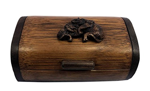 Thai Decor Wood Bamboo Classic Box with Hinged Lid for Arts, Crafts, Hobbies and Home Storage (Wood Thai Gift Box)