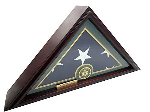- DECOMIL - 5x9 Burial/Funeral/Veteran Flag Elegant Display Case, Solid Wood, Cherry Finish, Flat Base (5x9, Army)