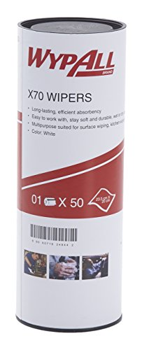 Wypall High Absorbent Reusable Wiping Cloth, X70 50 sheets or Roll, White, 60020 by Kimberly-Clark