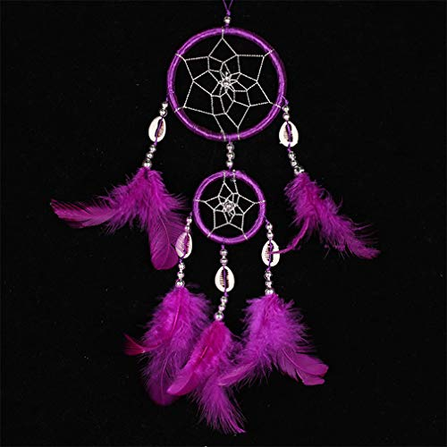 - Handmade Double Circles Shell Dream Catcher Net Indian with Feather Pendant Dream Catcher Home Hanging Decoration Ornament Gift Purple