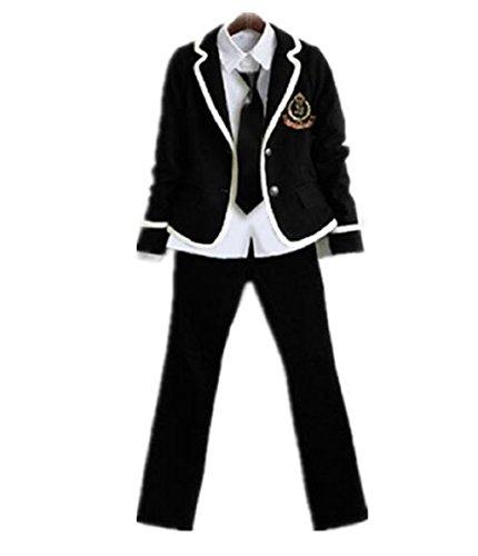 Evalent Japanese Anime Clothes Classic Navy Sailor Suit Autumn Long Sleeve Girl/Boy Students School Uniforms Costume Pants Set ... (S, Black)