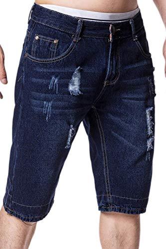 Hombre Mid Mid Jeans Mid Rise Taladro Denim Skinny Corto Agujeros Cher Pants Cktes Pierno Jeansshort Short Pants Verano Blau