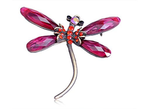 - Alilang Craft Ruby Red Crystal Light Siam Jewel Dragonfly Small Tiny Brooch Pin Pendant