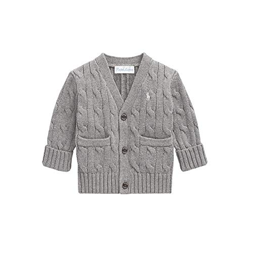 Polo Ralph Lauren Baby Boy's Cable Knit Cardigan, 24 MOS, Heather Grey ()