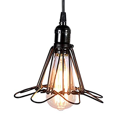 MY CANARY Industrial Vintage Hanging Pendant Light, Metal Rustic Cage Wire Opening and Closing Ceiling Chandelier Guard Lamp, Overhead Light Fixtures Lighting